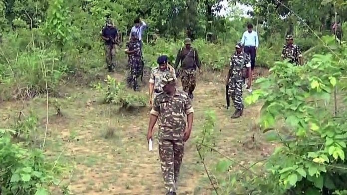 Representational image of police personnel in Chhattisgarh forests | Photo: ANI